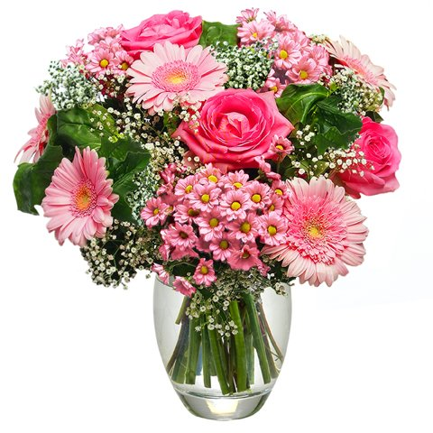 Pretty in Pink: pink roses and gerberas