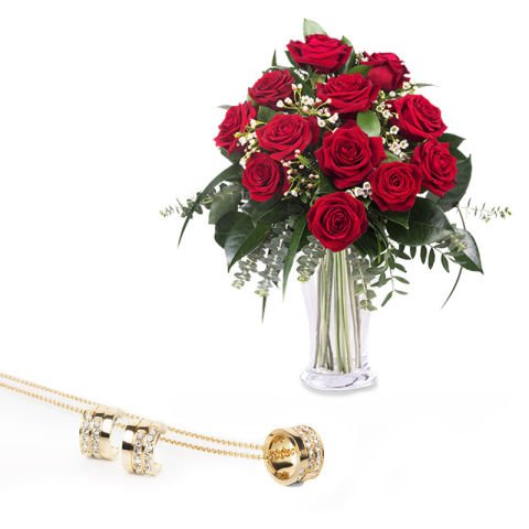 Red roses and jewellery