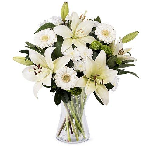 Bukiet Czyste Emocje: białe lilie i gerbery
