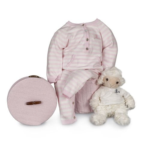 Layette Happy Salopette tricot à rayures rose